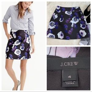 J. CREW Floral A-line Mini Skirt in Violet Poppy